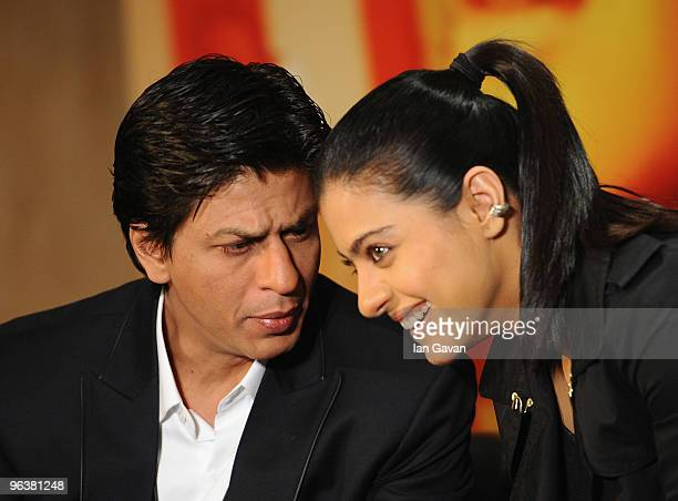 Shah Rukh Khan and Kajol attends the 'My Name Is Khan' press conference at the Courthouse Hotel on February 3, 2010 in London, England.