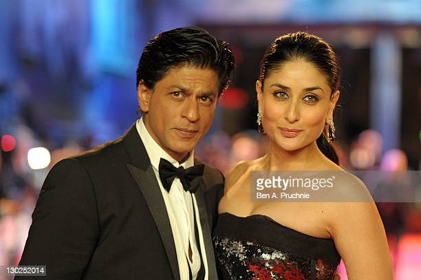 Shah Rukh Khan and Kareena Kapoor attends the UK premiere of RA One at 02 Arena on October 25 2011 in London England