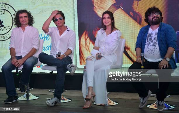 Shah Rukh Khan Anushka Sharma Pritam Chakraborty and Imtiaz Ali during a launch of 'Hawayein' a song from their upcoming film 'Jab Harry Met Sejal'...