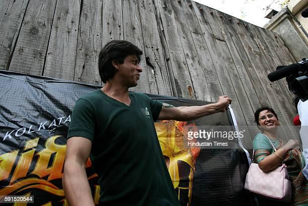 Shah Rukh Khan during the press conference of Kolkata Knight Riders at his Mannat residence .