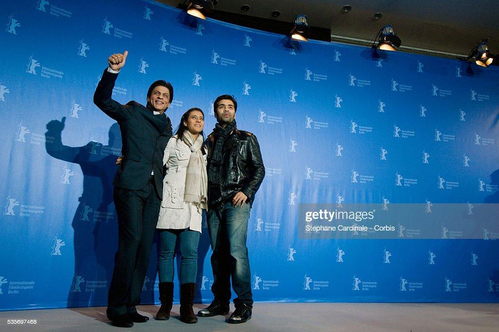 Shah Rukh Khan Kajol Devgan and Karan Johar at the photo call of `My Name is Khan` during the 60th Berlin International Film Festival