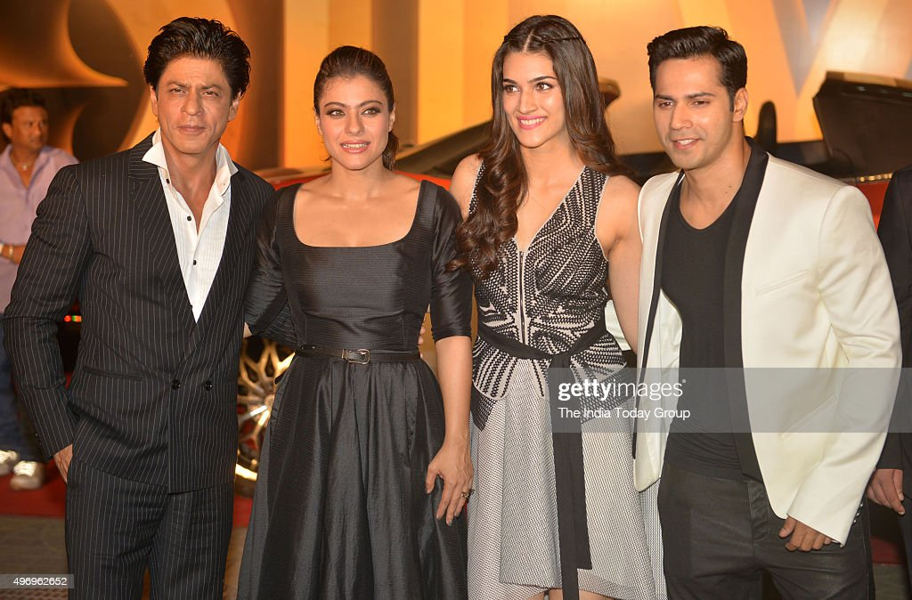 Shah Rukh Khan Kajol Varun Dhawan and Kriti Sanon at the trailer launch of their movie DILWALE in Mumbai
