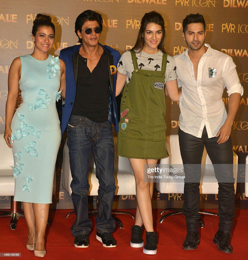 Shah Rukh Khan Kajol Varun Dhawan and Kriti Sanon during the song launch of their upcoming movie Dilwale in Mumbai