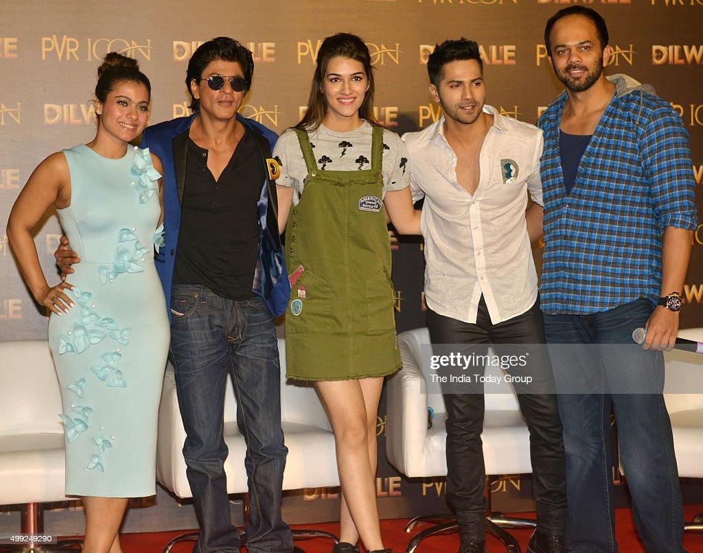 Shah Rukh Khan Kajol Varun Dhawan Kriti Sanon and Rohit Shetty during the song launch of their upcoming movie Dilwale in Mumbai