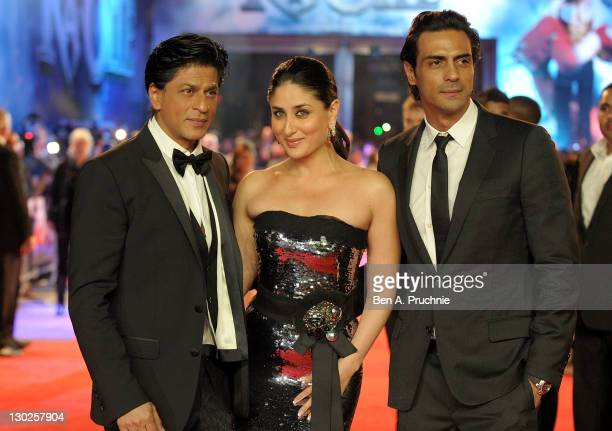 Shah Rukh Khan Kareena Kapoor and Arjun Rampal attends the UK premiere of RA One at 02 Arena on October 25 2011 in London England