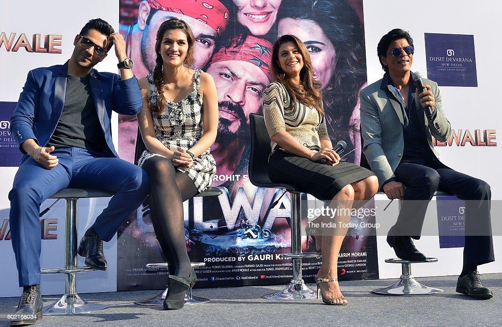 Shah Rukh Khan Kriti Sanon Varun Dhawan and Kajol promoting their upcoming movie 'Dilwale' in New Delhi