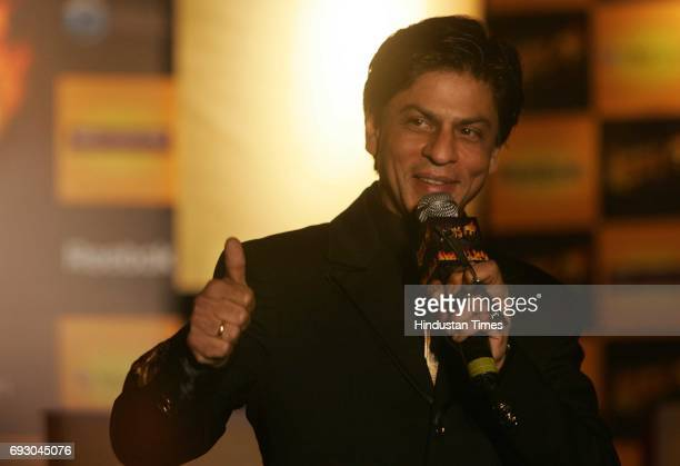 Shah Rukh Khan, OWNER OF THE 'KOLKATA KNIGHT RIDERS' GESTURES DURING A PRESS CONFERENCE AT TAJ LAND'S END ON THURSDAY.