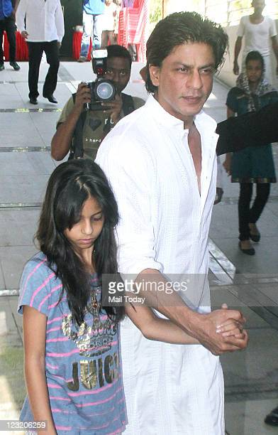 Shah Rukh Khan spotted with daughter Suhana during warm wishes and greetings for Eid for his all fans accross the world during a press meet held at...