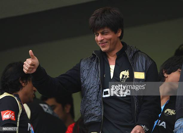 Shah Rukh Khan the owner of Kolkata looks on during the IPL T20 match between Deccan Chargers and Kolkata Knight Riders on April 19, 2009 in Cape...
