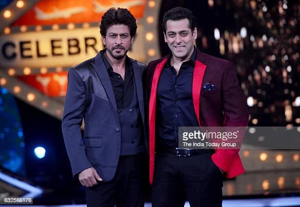 Shah Rukh Khan with Salman Khan on the sets of Bigg Boss season 10 during the promotion of film Raees in Lonavala Maharashtra