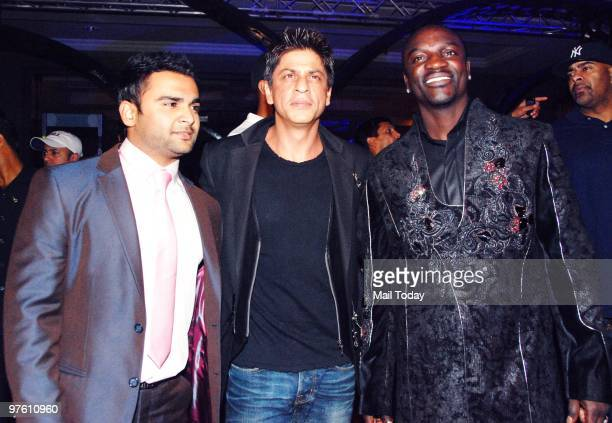 Shah Rukh Khan with singer Akon at a party hosted for him in Mumbai March 8 2010 Akon is in Mumbai to record a song for Shah Rukh Khan's new film...