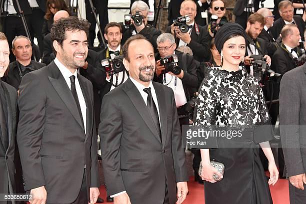 Shahab Hosseini Asghar Farhadi and Taraneh Alidoosti attend the Closing Ceremony of the 69th annual Cannes Film Festival at the Palais des Festivals...