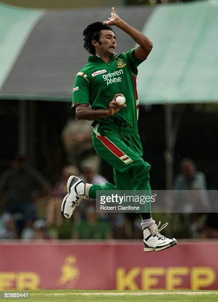 Shahadat Hossain of Bangladesh bowls during the third one day international match between Australia and Bangladesh held at TIO Stadium on September...