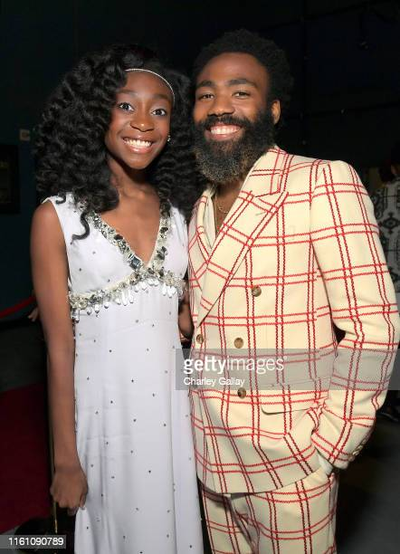 Shahadi Wright Joseph and Donald Glover attend the World Premiere of Disney's THE LION KING at the Dolby Theatre on July 09 2019 in Hollywood...