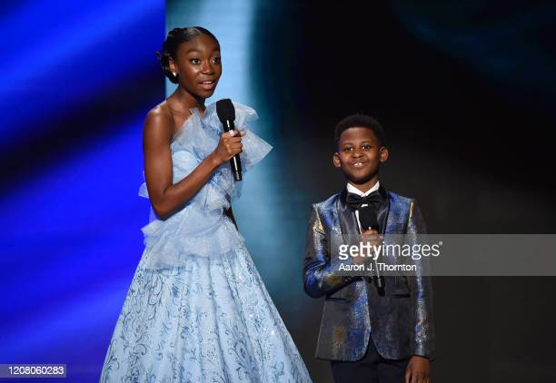 Shahadi Wright Joseph and Evan Alex speak onstage during the 51st NAACP Image Awards, Presented by BET, at Pasadena Civic Auditorium on February 22,...