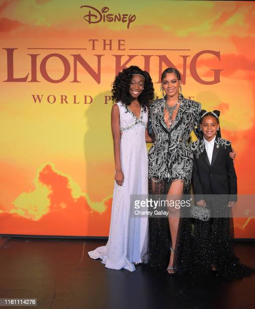Shahadi Wright Joseph Beyonce KnowlesCarter and Blue Ivy Carter attend the World Premiere of Disney's THE LION KING at the Dolby Theatre on July 09...