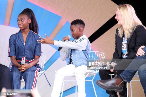 Shahadi Wright Joseph Evan Alex and Elisabeth Moss at the #TwitterHouse for a conversation with the cast of 'Us' during SXSW on March 8 2019 in...