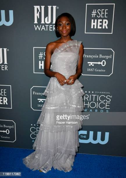 Shahadi Wright Joseph poses in the press room during the 25th Annual Critics' Choice Awards at Barker Hangar on January 12, 2020 in Santa Monica,...