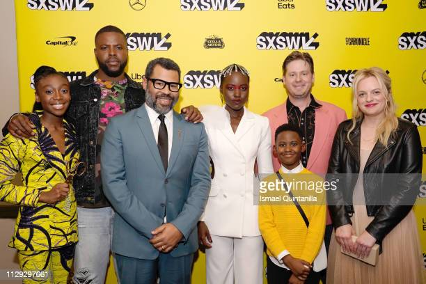 "Shahadi Wright Joseph, Winston Duke, Jordan Peele, Lupita Nyong'o, Evan Alex, Tim Heidecker, and Elisabeth Moss attend the ""Us"" Premiere during the..."