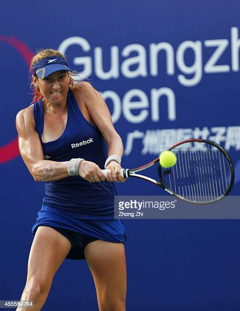 Shahar Peer of Israel returns a shot during her match against Alize Cornet of France during day three of the 2014 WTA Guangzhou Open at Tianhe Sports...