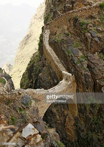 Shahara bridge in Yemen This engineering marvel spans a sheer 300 foot deep canyon Built in the early 17th Century this bridge rises above sea level...