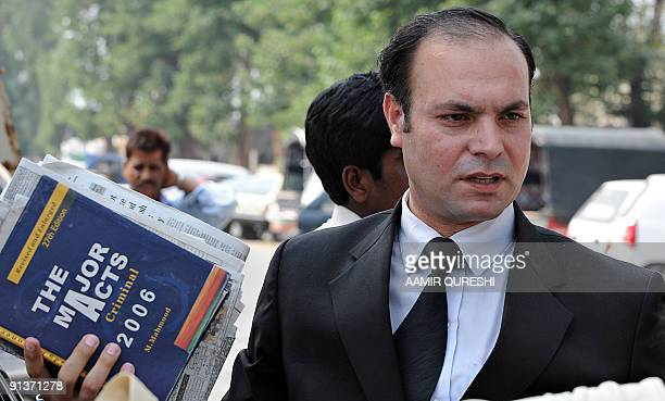 Shahbaz Rajput Pakistani defence lawyer for seven suspects accused for plotting last year's Mumbai attacks arrives at an antiterrorism court set up...