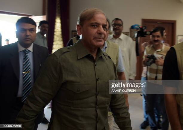 Shahbaz Sharif ,the younger brother of ousted Pakistani Prime Minister Nawaz Sharif and head of Pakistan Muslim League-Nawaz , arrives to attend an...