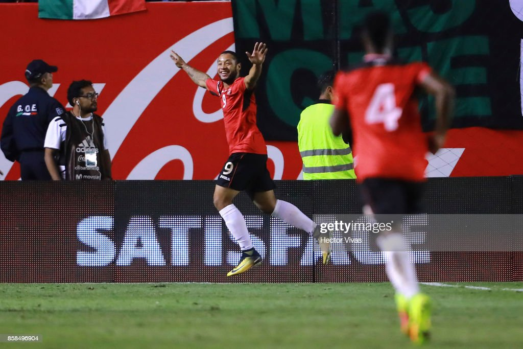 Shahdon Winchester of Trinidad & Tobago celebrates after scoring the first goal of his team during the match between Mexico and Trinidad & Tobago as part of the FIFA 2018 World Cup Qualifiers at Alfonso Lastras Stadium on October 6, 2017 in San Luis Potosi, Mexico.