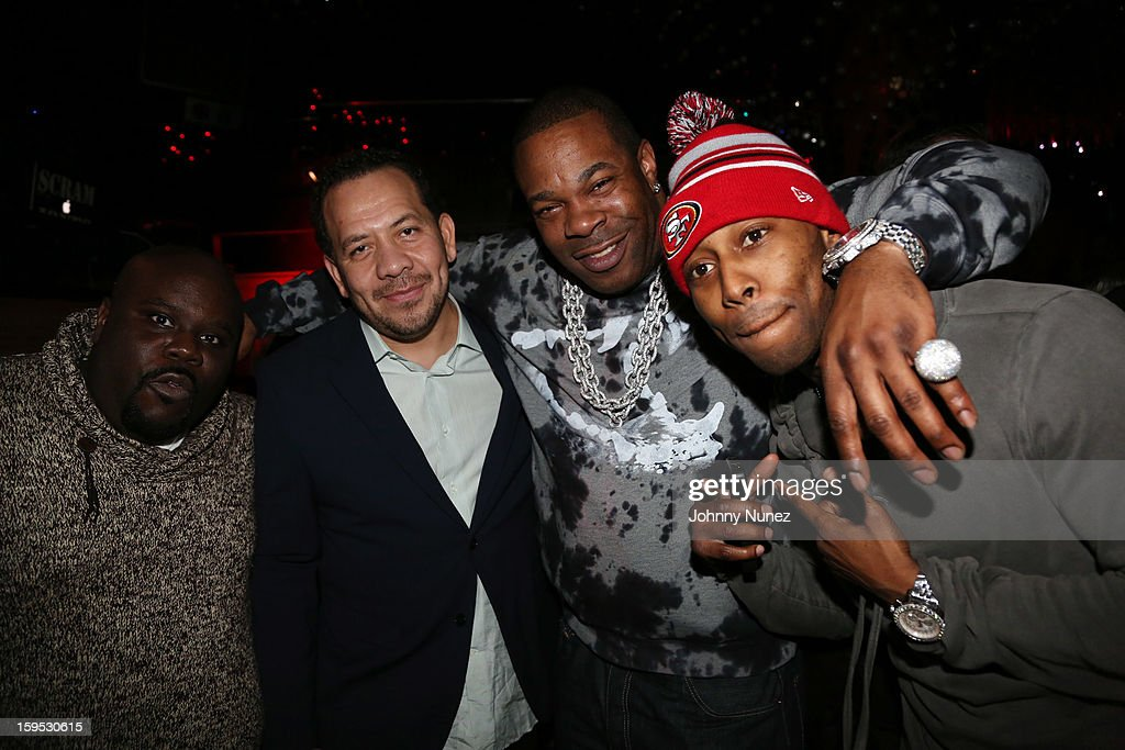 Shaheem Reid, Elliott Wilson, Busta Rhymes, and Reek Da Villian celebrate Raekwon and Elliott Wilson's birthdays at Greenhouse on January 14, 2013 in New York City.