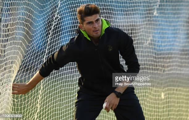 Shaheen Afridi of Lahore Qalanders looks on before the T20 match between an MCC team and Lahore Qalandars at Gaddafi stadium on February 14, 2020 in...