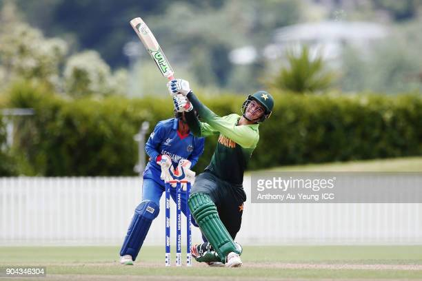 Shaheen Afridi of Pakistan bats during the ICC U19 Cricket World Cup match between Pakistan and Afghanistan at Cobham Oval on January 13 2018 in...