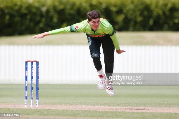 Shaheen Afridi of Pakistan bowls during the ICC U19 Cricket World Cup match between Pakistan and Afghanistan at Cobham Oval on January 13 2018 in...