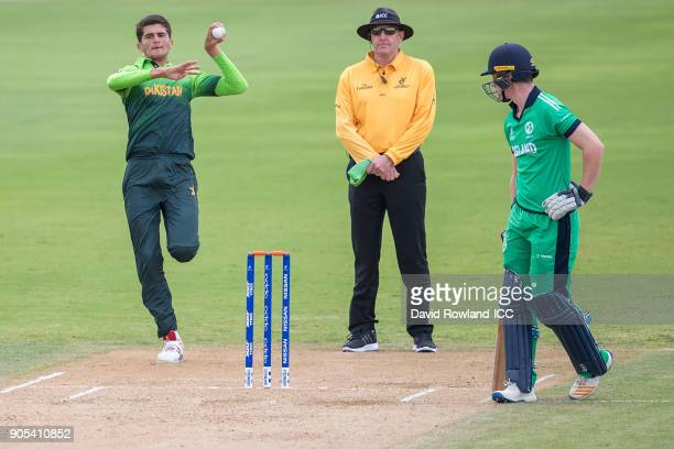 Shaheen Afridi of Pakistan bowls during the ICC U19 Cricket World Cup match between Pakistan and Ireland at Cobham Oval on January 16 2018 in...