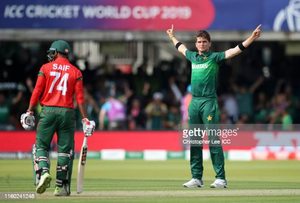 Shaheen Afridi of Pakistan celebrates after taking the wicket of Mohammad Saifuddin of Bangladesh during the Group Stage match of the ICC Cricket...