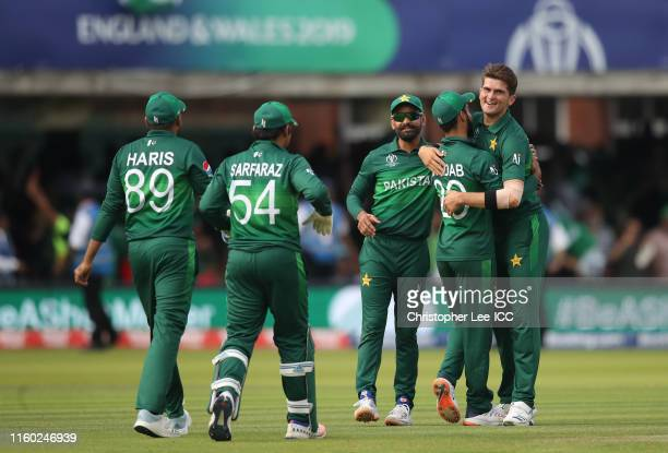 Shaheen Afridi of Pakistan celebrates after taking the wicket of Mustafizur Rahman of Bangladesh during the Group Stage match of the ICC Cricket...