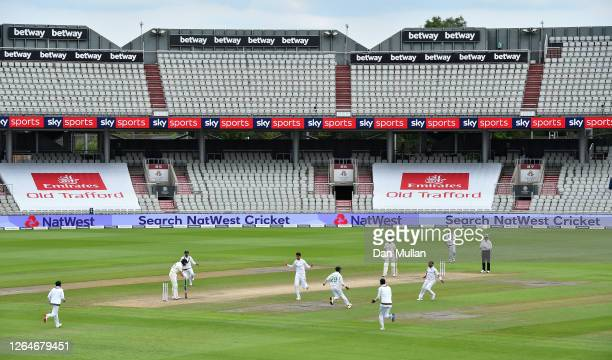 Shaheen Afridi of Pakistan celebrates taking the wicket of Ollie Pope of England during Day Four of the 1st #RaiseTheBat Test Match between England...