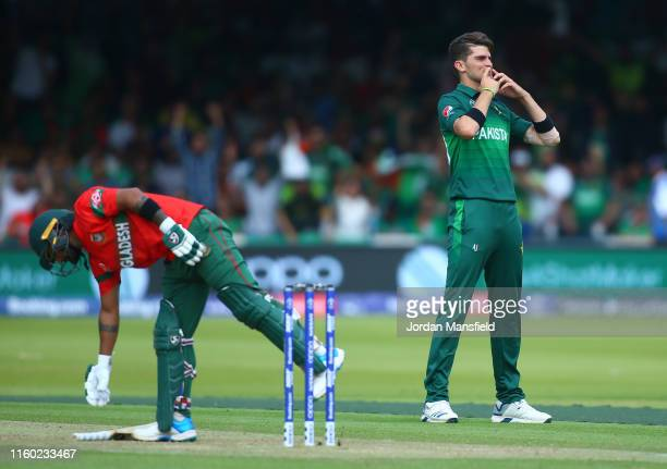 Shaheen Afridi of Pakistan celebrates the wicket of Liton Das of Bangladesh during the Group Stage match of the ICC Cricket World Cup 2019 between...