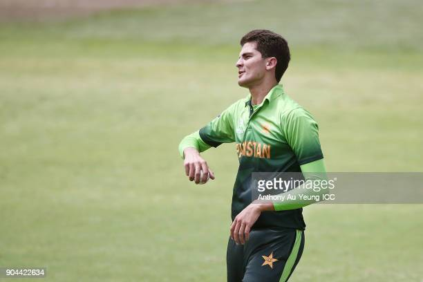 Shaheen Afridi of Pakistan looks on during the ICC U19 Cricket World Cup match between Pakistan and Afghanistan at Cobham Oval on January 13 2018 in...