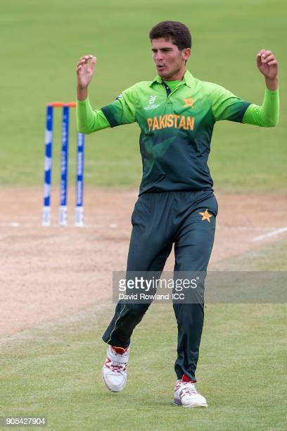 Shaheen Afridi of Pakistan reacts after bowling during the ICC U19 Cricket World Cup match between Pakistan and Ireland at Cobham Oval on January 16...