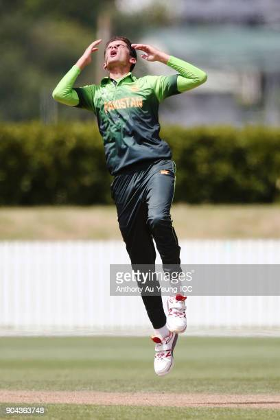 Shaheen Afridi of Pakistan reacts during the ICC U19 Cricket World Cup match between Pakistan and Afghanistan at Cobham Oval on January 13 2018 in...