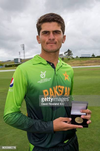 Shaheen Afridi of Pakistan receives the player of the match award at the ICC U19 Cricket World Cup match between Pakistan and Ireland at Cobham Oval...