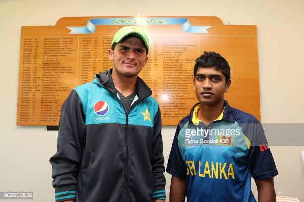 Shaheen Shah Afridi of Pakistan and Dhananjaya Lakshan of Sri Lanka with their names on the Cobham Oval honours board during the ICC U19 Cricket...