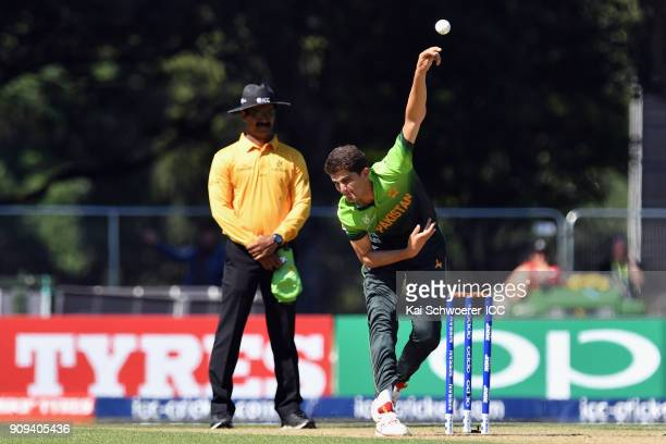 Shaheen Shah Afridi of Pakistan bowls during the ICC U19 Cricket World Cup match between Pakistan and South Africa at Hagley Oval on January 24 2018...
