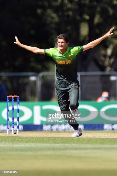 Shaheen Shah Afridi of Pakistan celebrates after dismissing Matthew Breetzke of South Africa during the ICC U19 Cricket World Cup match between...