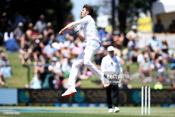 Shaheen Shah Afridi of Pakistan celebrates his wicket of Tom Blundell of New Zealand during day one of the First Test match in the series between New...