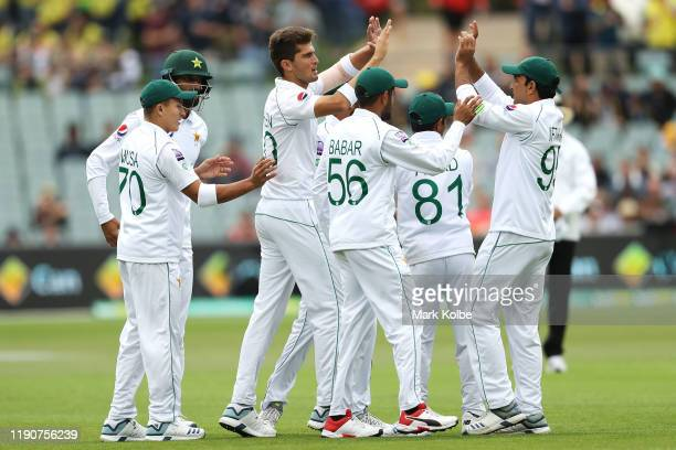 Shaheen Shah Afridi of Pakistan celebrates with his team after taking the wicket of Joe Burns of Australia during day one of the 2nd Domain Test...