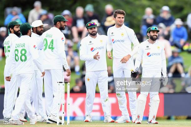 Shaheen Shah Afridi of Pakistan is congratulated by team mates after dismissing BJ Watling of New Zealand during day three of the Second Test match...