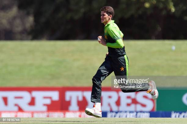 Shaheen Shah Afridi of Pakistan runs in to bowl during the ICC U19 Cricket World Cup Semi Final match between Pakistan and India at Hagley Oval on...