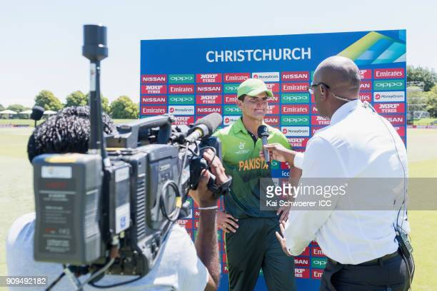 Shaheen Shah Afridi of Pakistan speaks to the media at the end of the first innings during the ICC U19 Cricket World Cup match between Pakistan and...