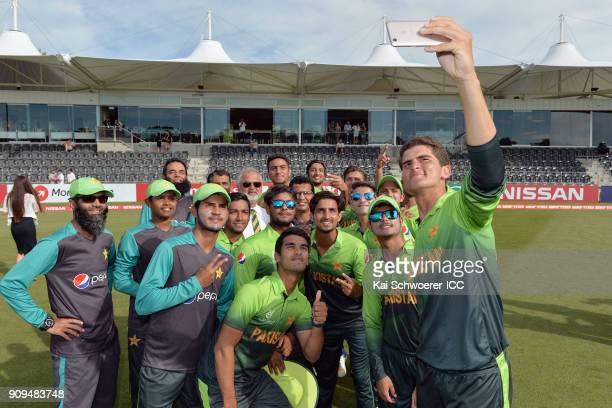 Shaheen Shah Afridi of Pakistan takes a team selfie after the win in the ICC U19 Cricket World Cup match between Pakistan and South Africa at Hagley...